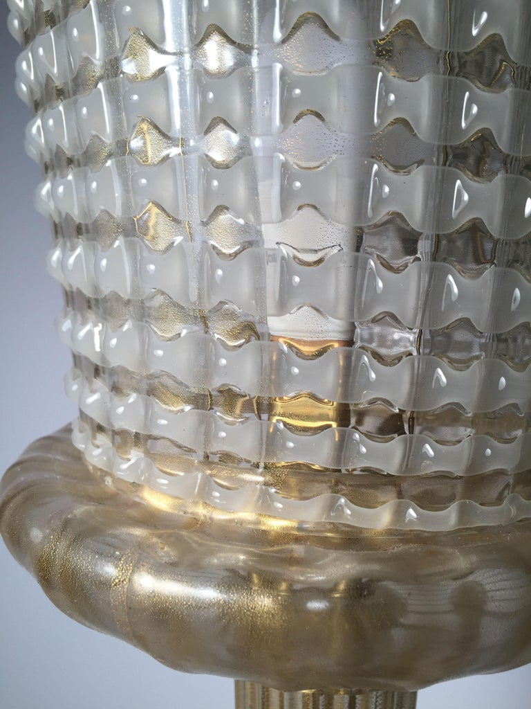 Italian Rare Murano Glass Table Lamp by Barovier For Sale