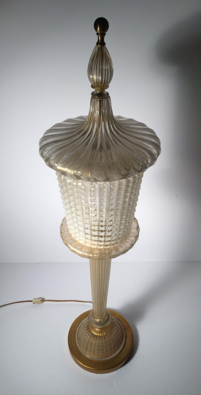 20th Century Rare Murano Glass Table Lamp by Barovier For Sale