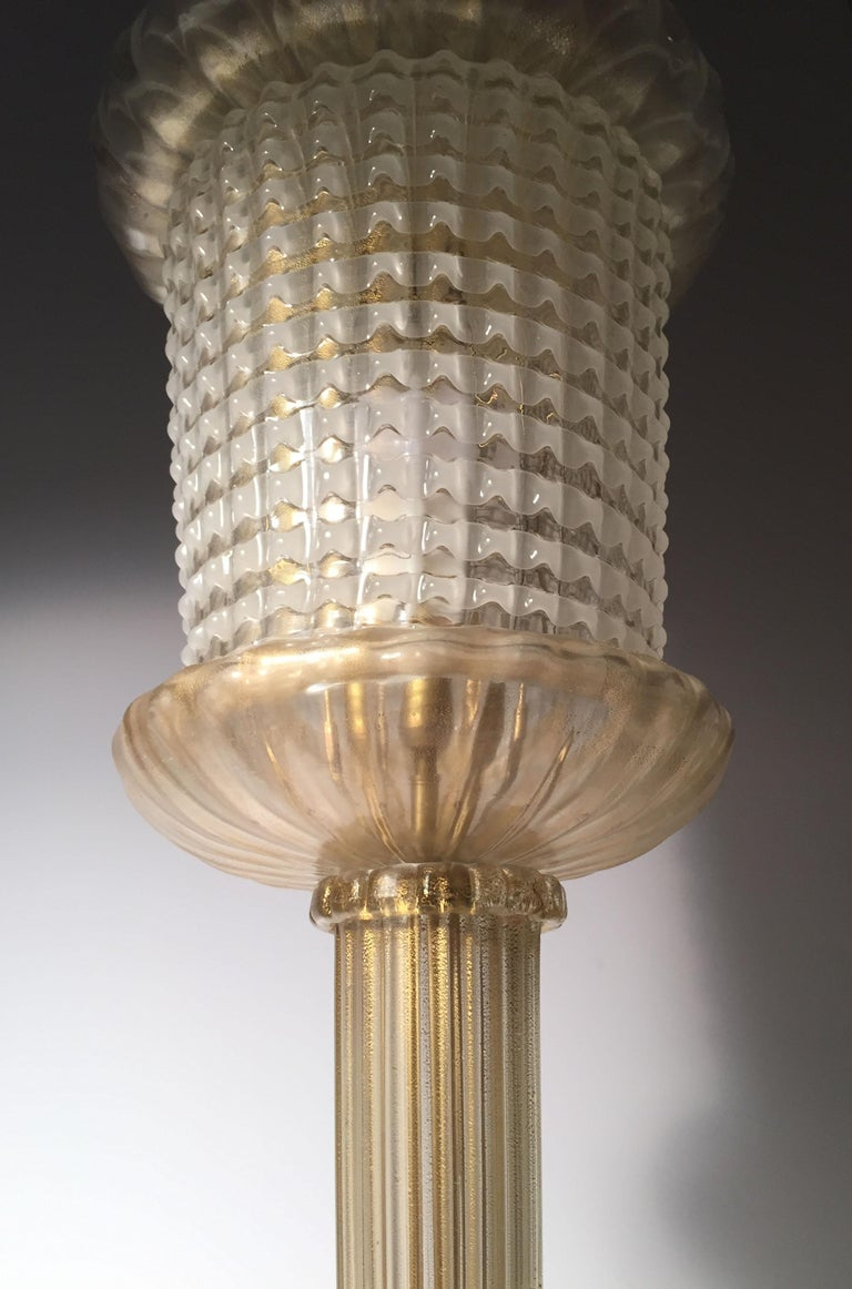 Art Glass Rare Murano Glass Table Lamp by Barovier For Sale