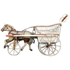 Rare Museum 19th Century Horse and Wicker Childs Push Along Carriage