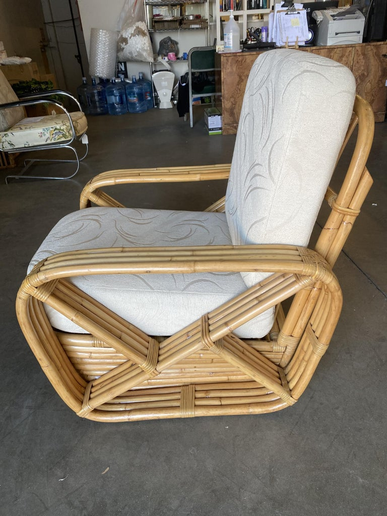 Paul Frankl four-strand square pretzel rattan arm lounge chair. This chair dates from 1934. This chair is a Paul Frankl original. This comes directly from a Paul Frankl decorated house located in Los Angeles and is documented.