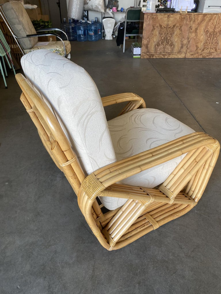 Rare Museum Quality Four-Strand Square Pretzel Lounge Chair by Paul Frankl In Excellent Condition For Sale In Van Nuys, CA