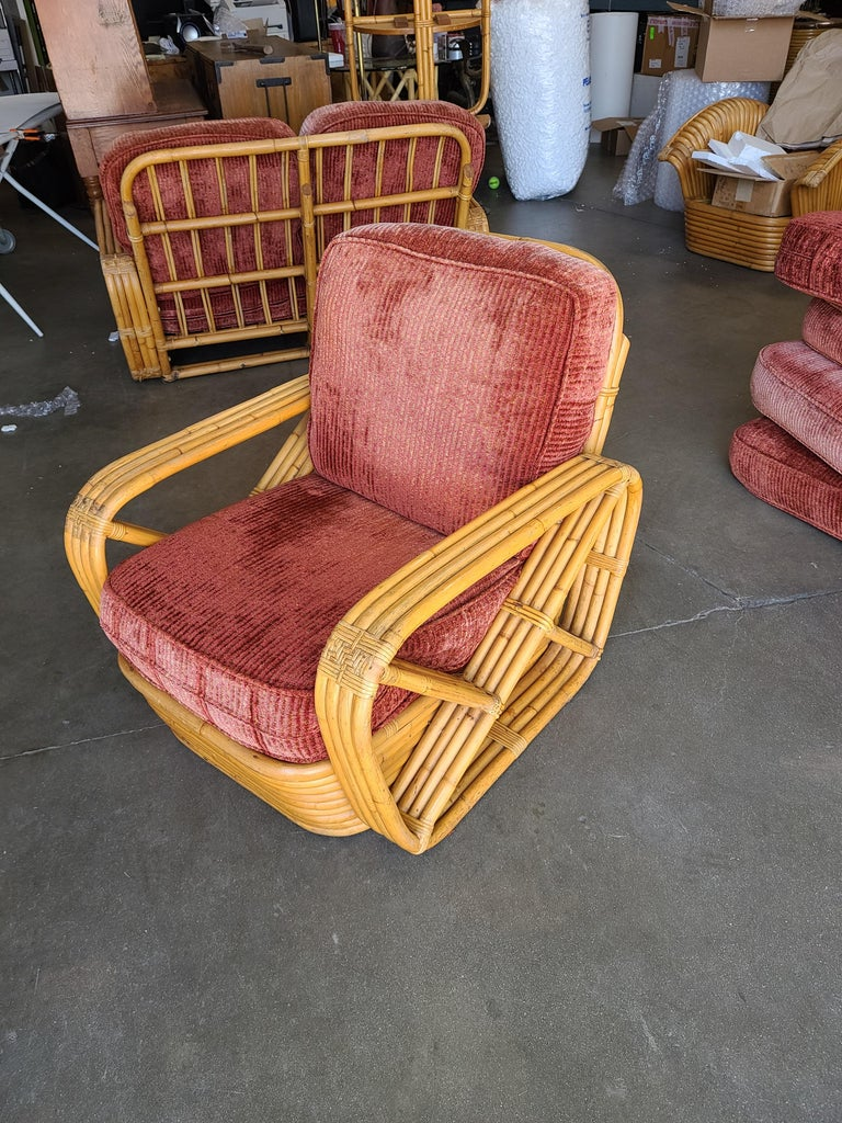 Paul Frankl six Strand Square Pretzel rattan arm lounge chair. This chair dates from 1934. This chair is a Paul Frankl original. This comes directly for a Paul Frankl decorated house located in Los Angeles and is documented, please contact us for