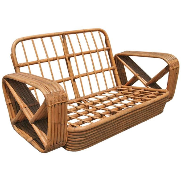 Paul Frankl six-strand square pretzel rattan arm settee. This loveseat settee dates from 1934. This comes directly for a Paul Frankl decorated house located in Los Angeles and is documented.    Custom cushions C.O.M. (Costumers Own Material) are