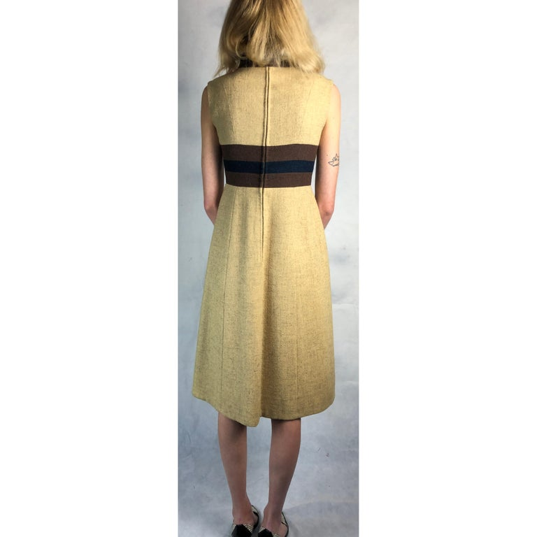 Rare Museum worthy Mary Quant wool dress, circa 1960s. For Sale 2