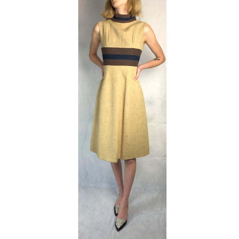 Rare Museum worthy Mary Quant wool dress, circa 1960s. For Sale 3