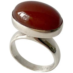 Rare Nanna Ditzel for Georg Jensen Sterling Silver Carnelian Danish Modern Ring