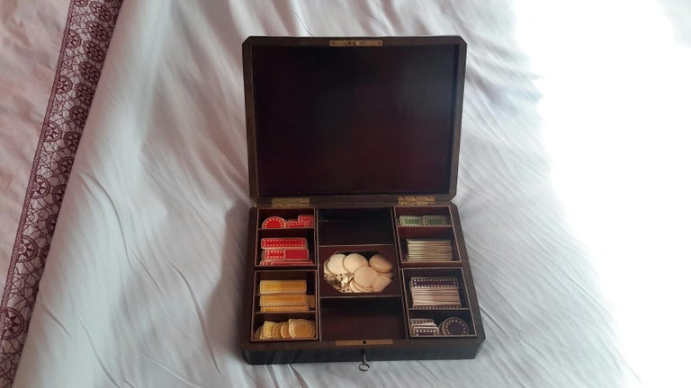 Napoleon III Rare Napoléon III Game Box in Boulle Style Marquetry, France, 1880s For Sale