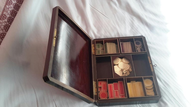 French Rare Napoléon III Game Box in Boulle Style Marquetry, France, 1880s For Sale
