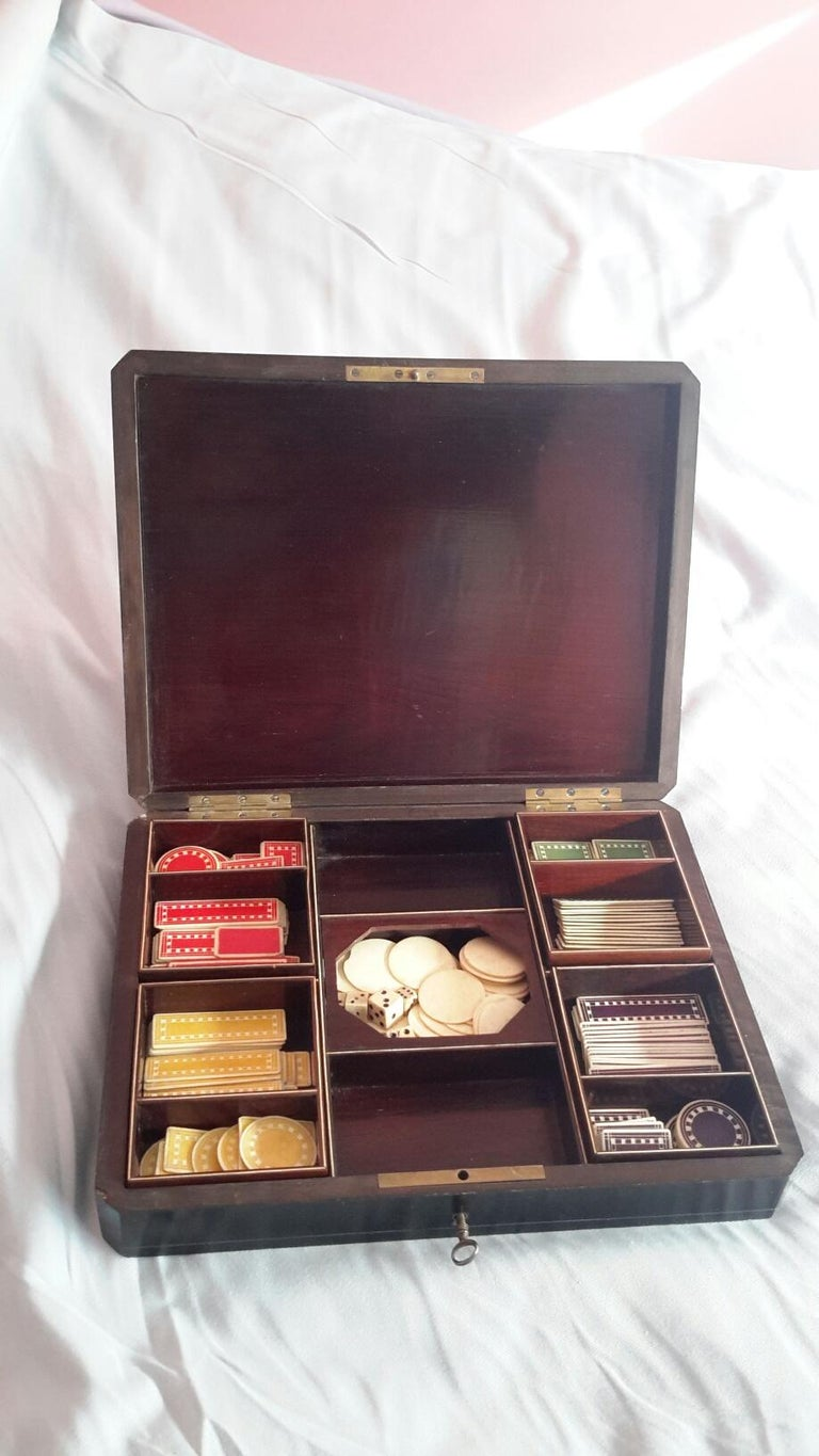 Rare Napoléon III Game Box in Boulle Style Marquetry, France, 1880s In Excellent Condition For Sale In Paris, FR