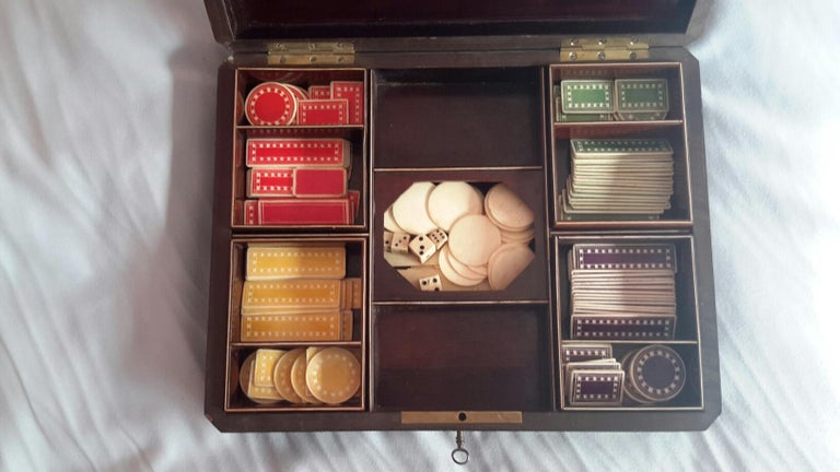 19th Century Rare Napoléon III Game Box in Boulle Style Marquetry, France, 1880s For Sale