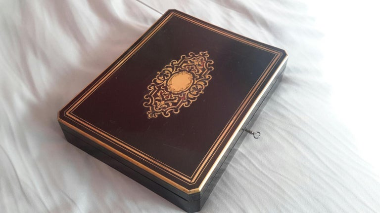 Brass Rare Napoléon III Game Box in Boulle Style Marquetry, France, 1880s For Sale