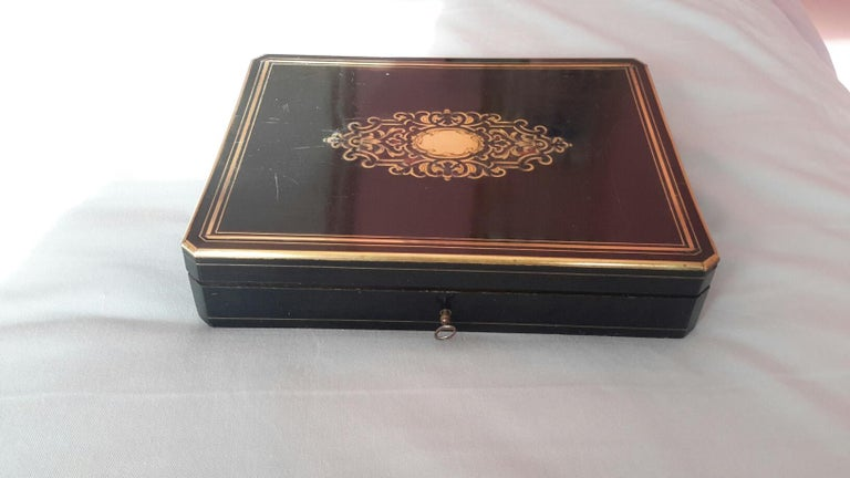Rare Napoléon III Game Box in Boulle Style Marquetry, France, 1880s For Sale 1