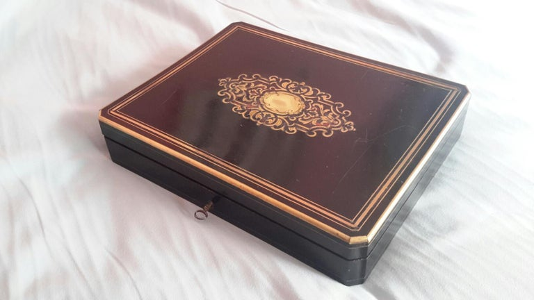 Rare Napoléon III Game Box in Boulle Style Marquetry, France, 1880s For Sale 2