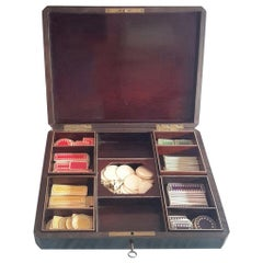 Rare Napoléon III Game Box in Boulle Style Marquetry, France, 1880s