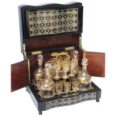 Rare Napoleon III Liquor Cellar Cabinet in Boulle Marquetry France 19th Century
