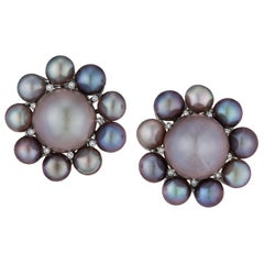 Rare Natural Pearl Diamond Platinum Earrings