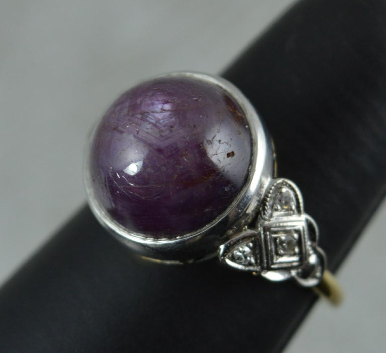Rare Natural Star Ruby and Diamond 18 Carat Gold Ring, circa 1920 For Sale 5