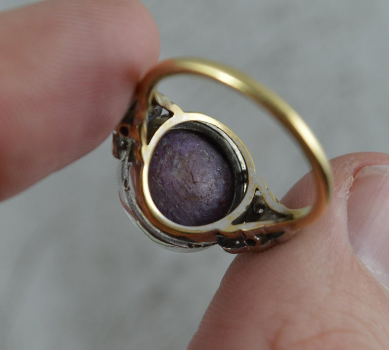 Rare Natural Star Ruby and Diamond 18 Carat Gold Ring, circa 1920 In Excellent Condition For Sale In St Helens, GB