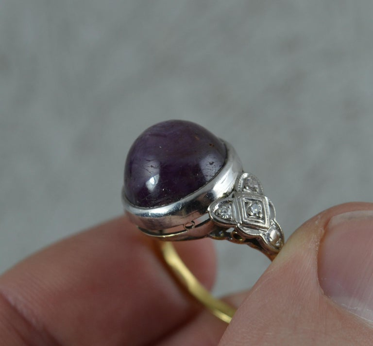 Women's Rare Natural Star Ruby and Diamond 18 Carat Gold Ring, circa 1920 For Sale