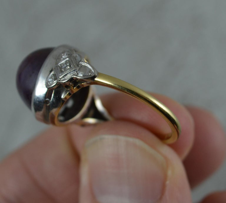 Rare Natural Star Ruby and Diamond 18 Carat Gold Ring, circa 1920 For Sale 2