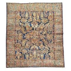 Rare Navy Blue Field Antique Persian Fine Sarouk Oriental Rug