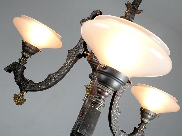 Victorian Rare Neo-Grec Gas Chandelier with Vaseline Glass Shades For Sale