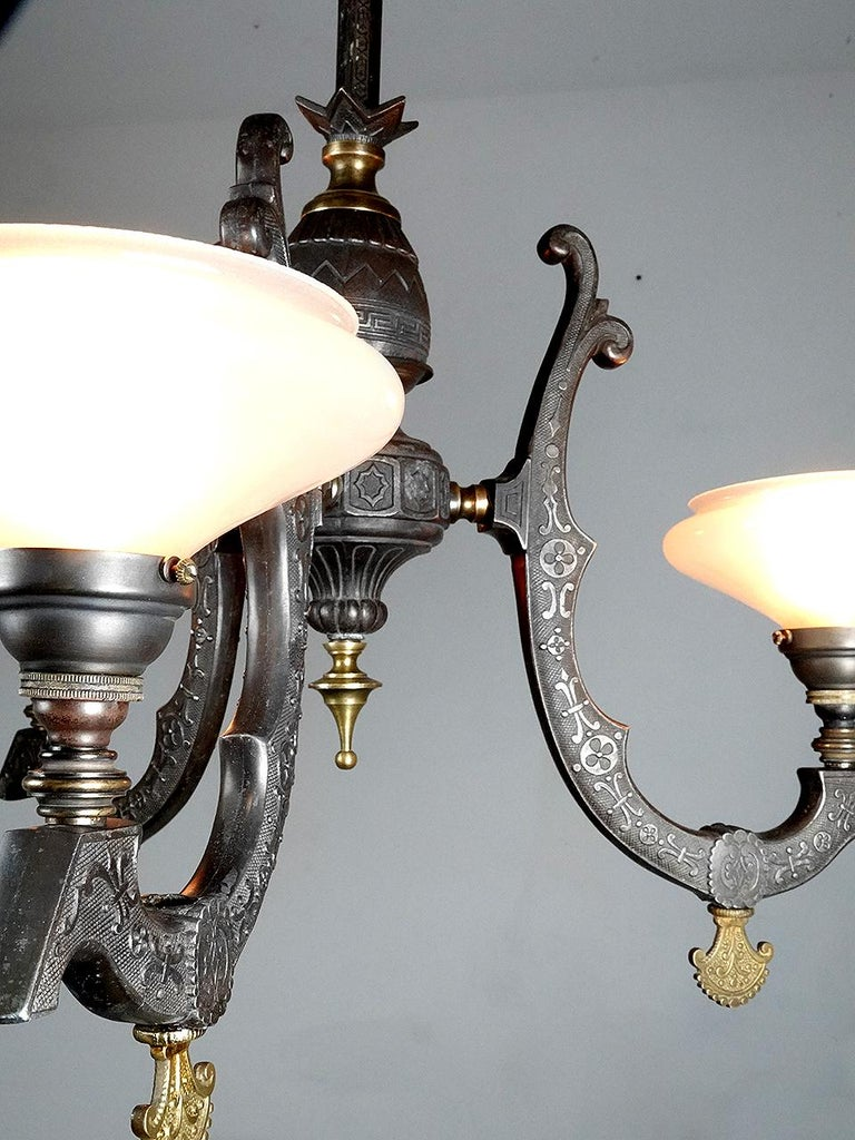 American Rare Neo-Grec Gas Chandelier with Vaseline Glass Shades For Sale