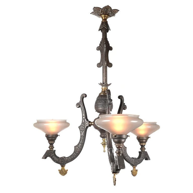 Rare Neo-Grec Gas Chandelier with Vaseline Glass Shades For Sale