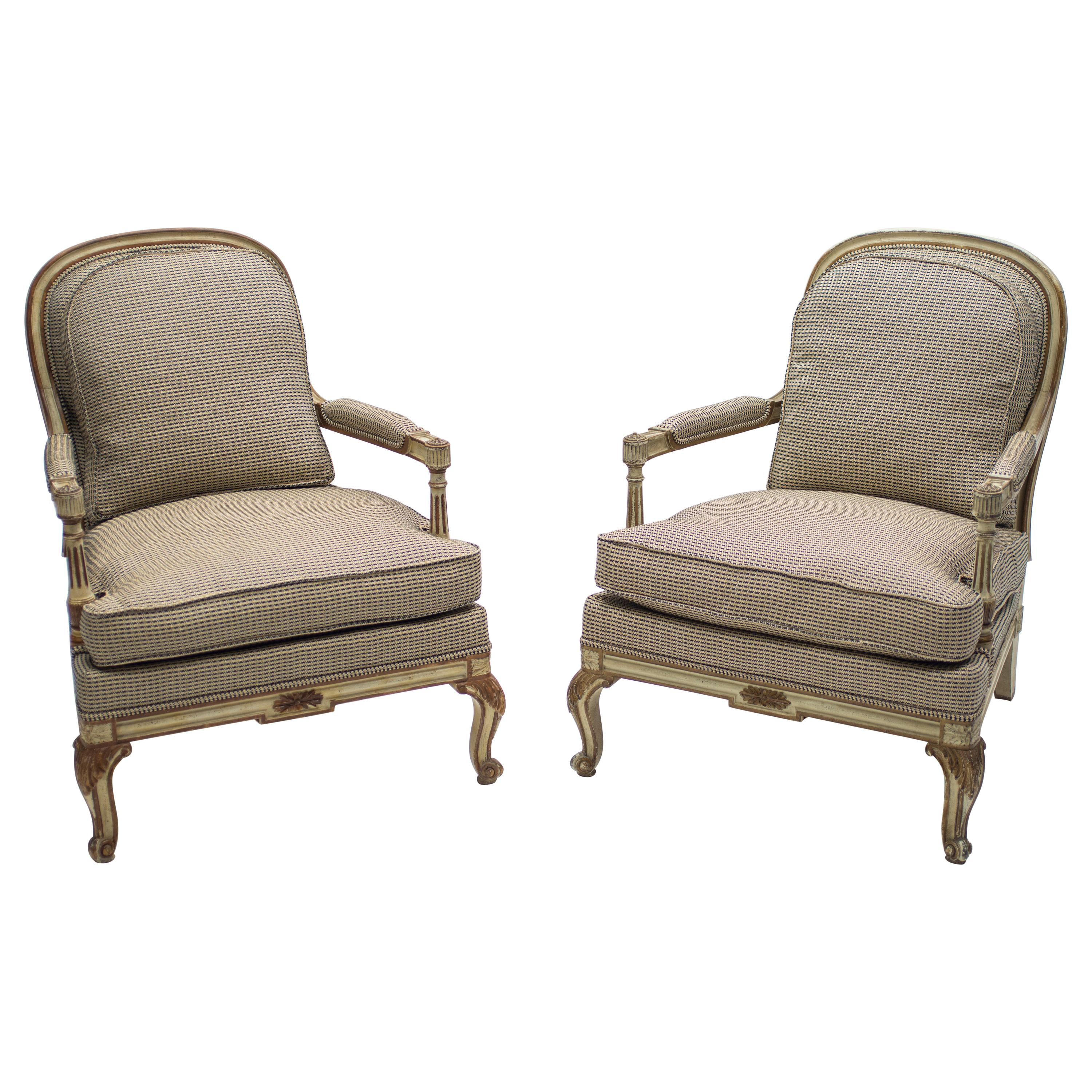 Rare Neoclassical Pair of Armchairs Signed by Maurice Hirsch, 1970s