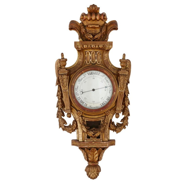 Louis XVI Rare Neoclassical Style French Giltwood Clock and Barometer Set For Sale