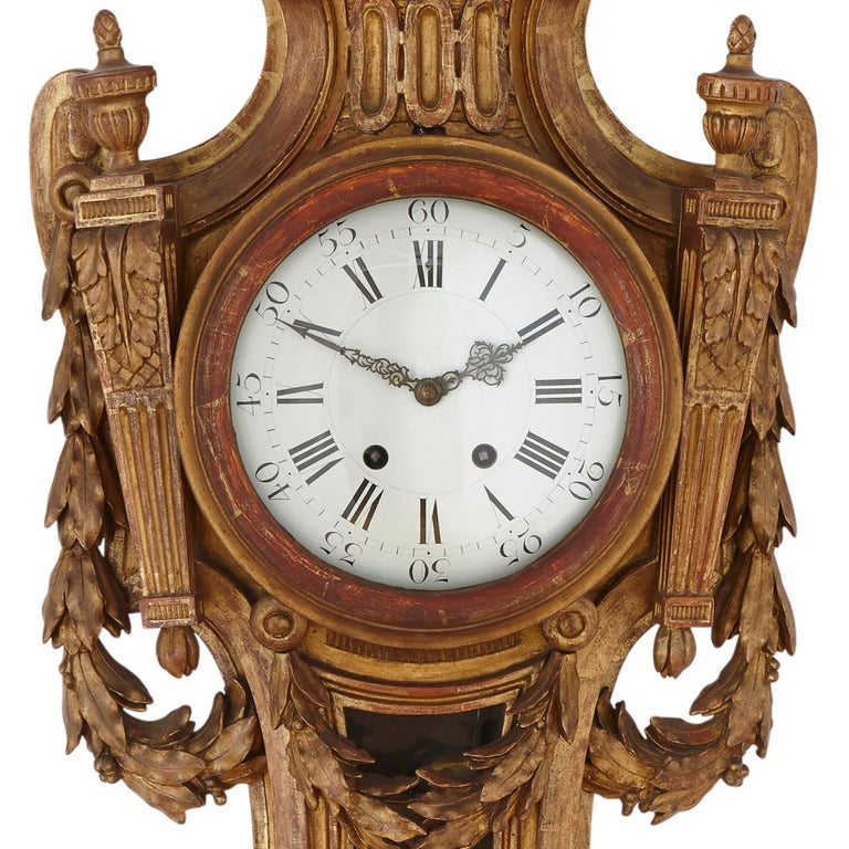 Rare Neoclassical Style French Giltwood Clock and Barometer Set In Good Condition For Sale In London, GB