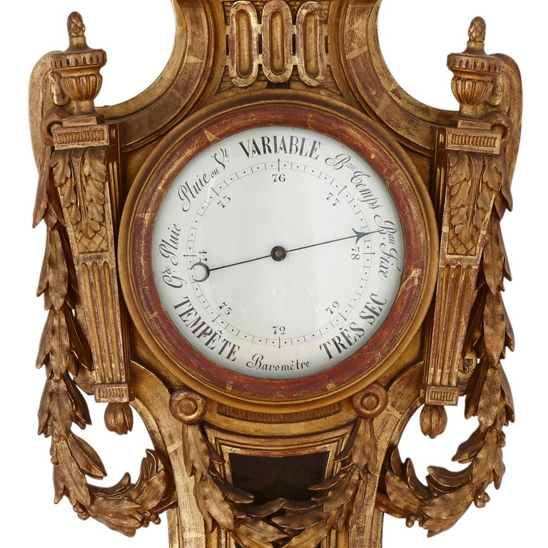 19th Century Rare Neoclassical Style French Giltwood Clock and Barometer Set For Sale