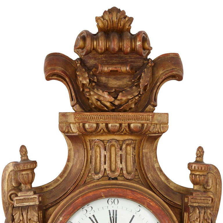 Enamel Rare Neoclassical Style French Giltwood Clock and Barometer Set For Sale