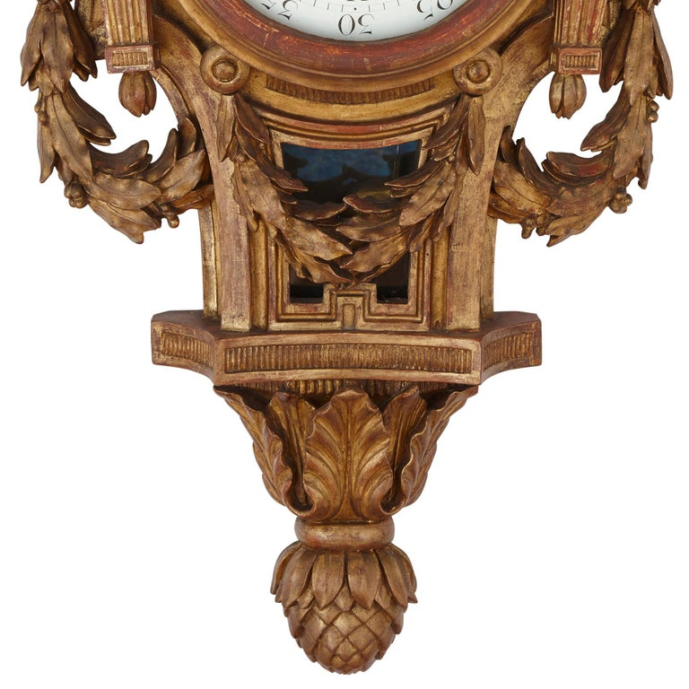 Rare Neoclassical Style French Giltwood Clock and Barometer Set For Sale 1