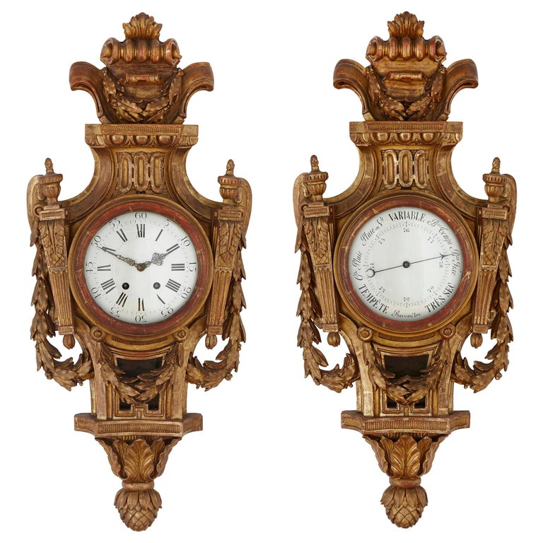 Rare Neoclassical Style French Giltwood Clock and Barometer Set For Sale