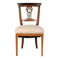 Rare Neoclassical Style Side Chair with Caduceus Crest