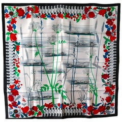 "Rare New Hermes 100% Silk Scarf ""Les Bolides"" by Rena Dumas"