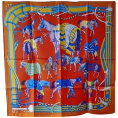 "Rare New Hermes 100% Silk Scarf ""Ronds de Marche"" by Hubert de Watrigant"