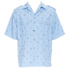 rare new PRADA 2019 Runway blue crystal bead embellished military boxy shirt M