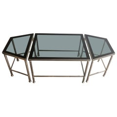 Rare Nickeled Three Elements Coffee Table