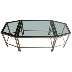 Rare Nickeled Tripartie Coffee Table with Glass Tops Lacquered All Around