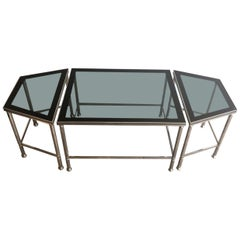 Rare Nickeled Tripartite Coffee Table with Glass Tops Lacquered All Around