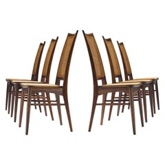 Rare Niels Koefoed Set of Six Dining Chairs in Rosewood and Cane