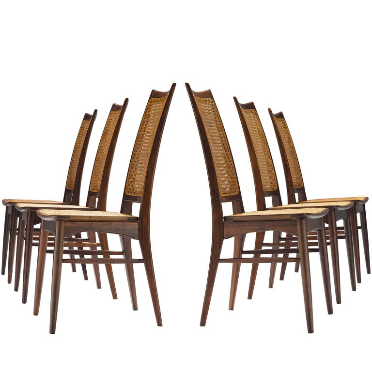 Rare Niels Koefoed Set of Six Rosewood Dining Chairs