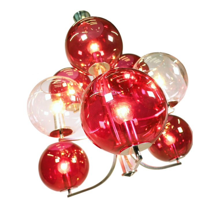 Mid-Century Modern 1960 Italy Sputnik Chandelier Cranberry Murano Glass Globes & Silver-Plated For Sale