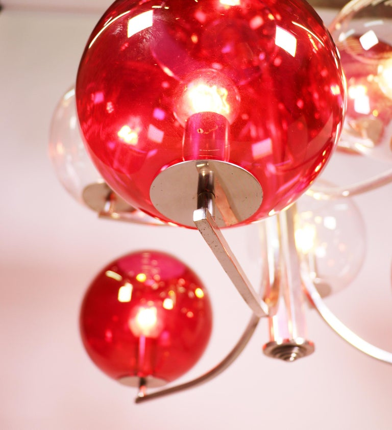 Italian 1960 Italy Sputnik Chandelier Cranberry Murano Glass Globes & Silver-Plated For Sale
