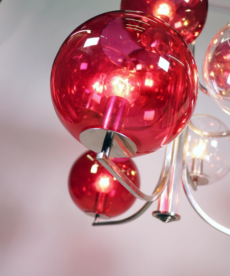 Silver Plate 1960 Italy Sputnik Chandelier Cranberry Murano Glass Globes & Silver-Plated For Sale