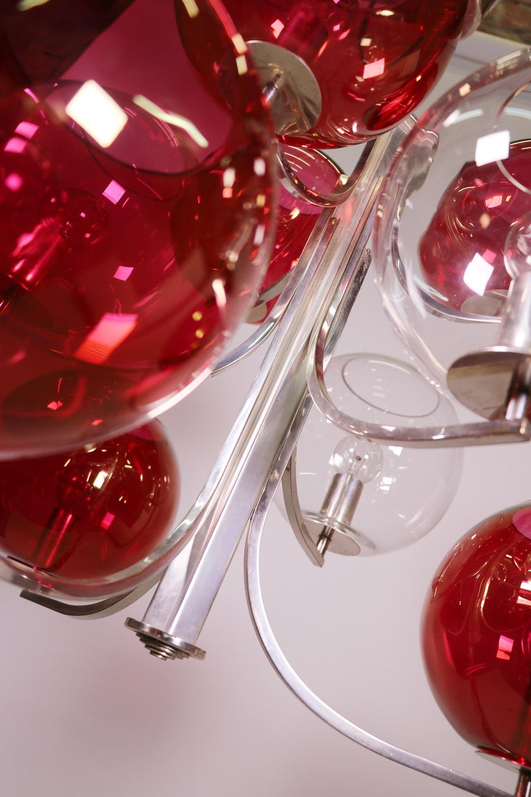 1960 Italy Sputnik Chandelier Cranberry Murano Glass Globes & Silver-Plated For Sale 1