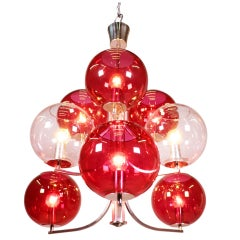 1960 Italy Sputnik Chandelier Cranberry Murano Glass Globes & Silver-Plated